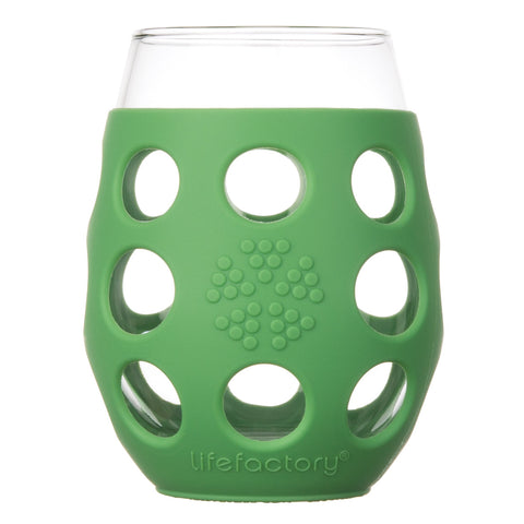 11 oz Wine Glass 2 Pack with Silicone Sleeve, Grass Green