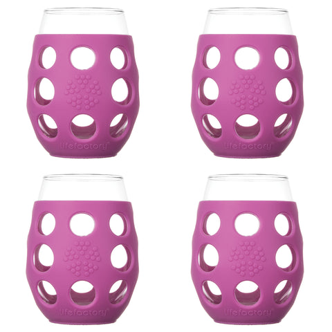 11 oz Wine Glass 4 Pack with Silicone Sleeves, Huckleberry