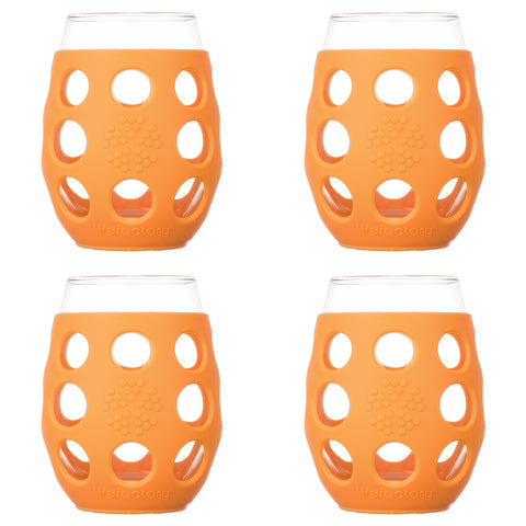 11 oz Wine Glass 4 Pack with Silicone Sleeves, Orange