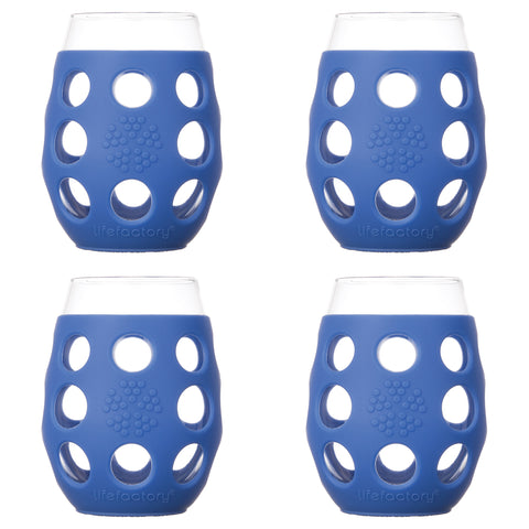 11 oz Wine Glass 4 Pack with Silicone Sleeves, Cobalt
