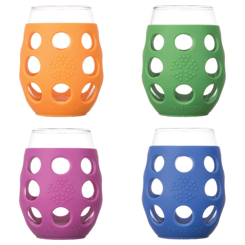 11 oz Wine Glass 4 Pack with Silicone Sleeves, Multi-Color