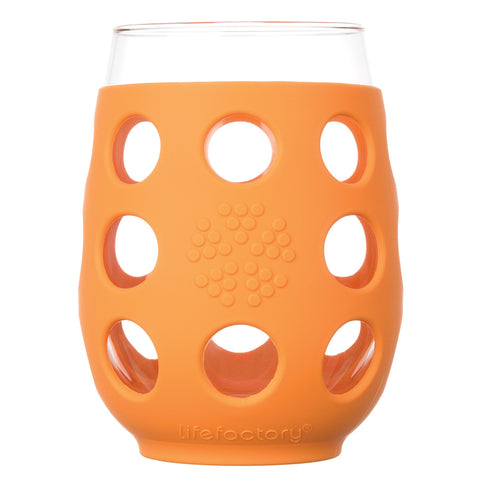 17 oz Wine Glass 2 Pack with Silicone Sleeves, Orange