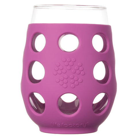 17 oz Wine Glass 2 Pack with Silicone Sleeves, Huckleberry