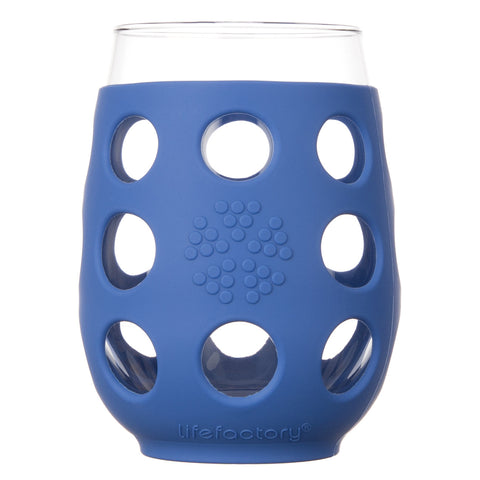 17 oz Wine Glass 2 Pack with Silicone Sleeves, Cobalt