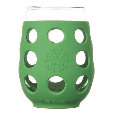 17 oz Wine Glass 2 Pack with Silicone Sleeves, Grass Green