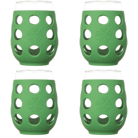 17 oz Wine Glass 4 Pack with Silicone Sleeves, Grass Green