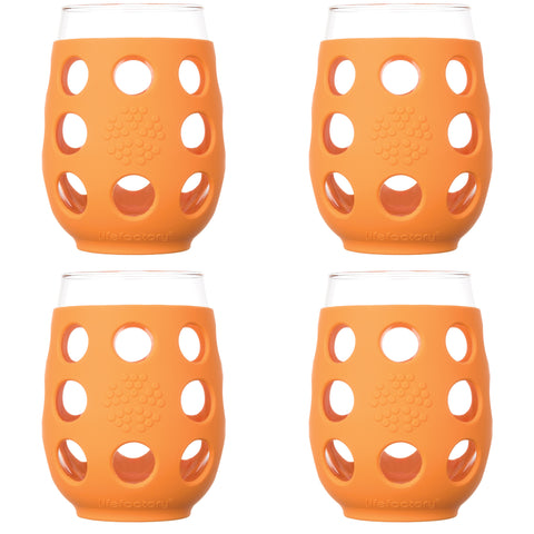 17 oz Wine Glass 4 Pack with Silicone Sleeves, Orange
