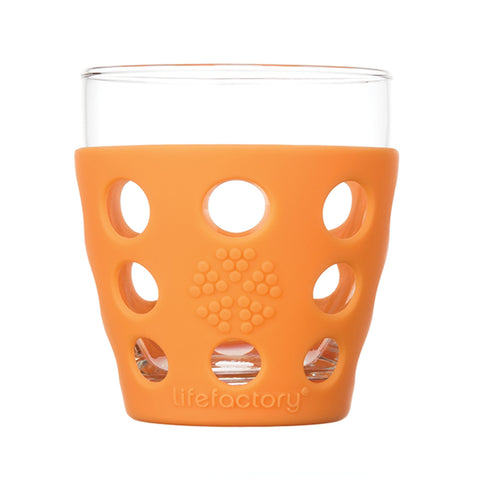 10 oz Beverage Glass 2 Pack With Silicone Sleeves, Orange