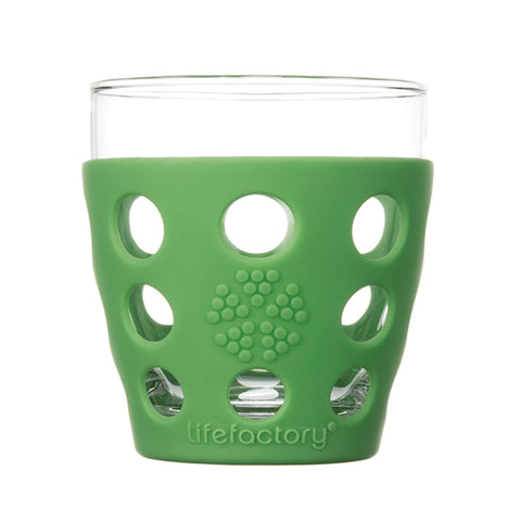 10 oz Beverage Glass 2 Pack With Silicone Sleeves, Grass Green