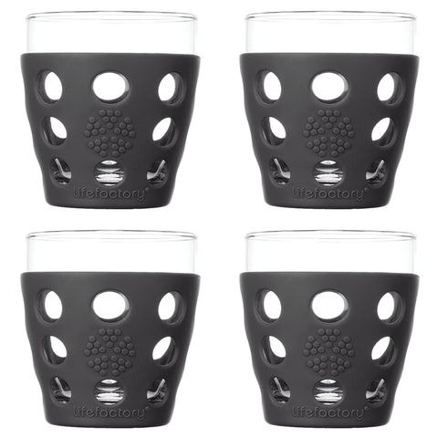 10 oz Beverage Glass 4 Pack with Silicone Sleeves, Carbon