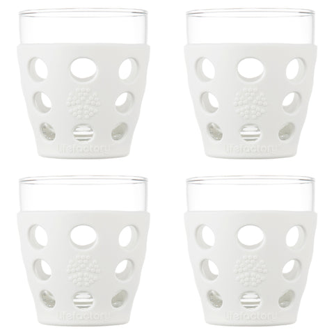 10 oz Beverage Glass 4 Pack with Silicone Sleeves, Optic White