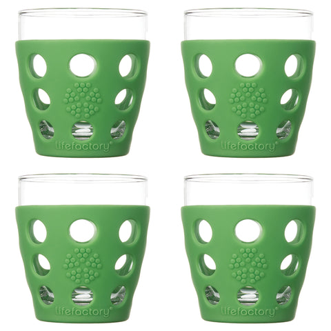 10 oz Beverage Glass 4 Pack with Silicone Sleeves, Grass Green