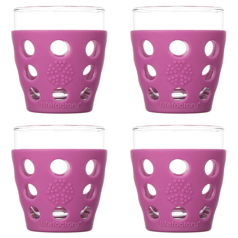 10 oz Beverage Glass 4 Pack with Silicone Sleeves, Huckleberry