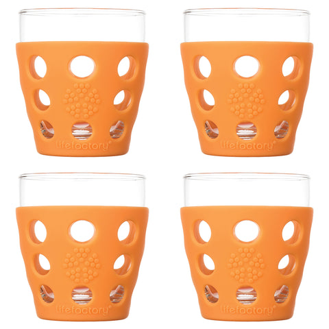 10 oz Beverage Glass 4 Pack with Silicone Sleeves, Orange
