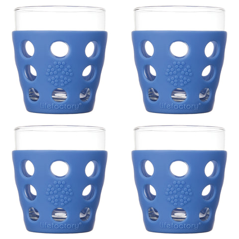 10 oz Beverage Glass 4 Pack with Silicone Sleeves, Cobalt