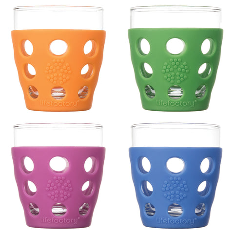 10 oz Beverage Glass 4 Pack with Silicone Sleeves, Multi-Color