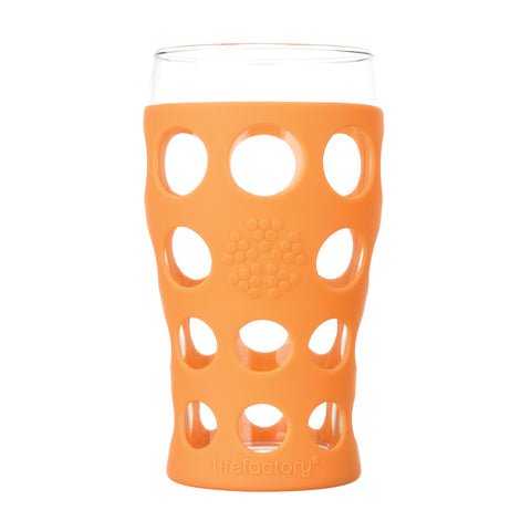 20 oz Beverage Glass 2 Pack With Silicone Sleeves, Orange