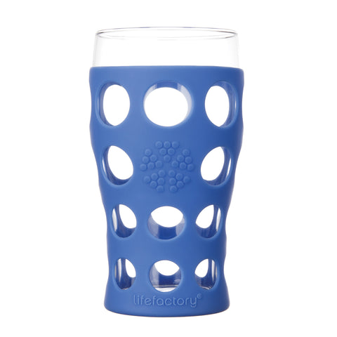 20 oz Beverage Glass 2 Pack With Silicone Sleeves, Cobalt