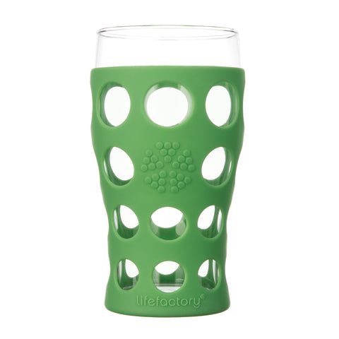 20 oz Beverage Glass 2 Pack With Silicone Sleeves, Grass Green
