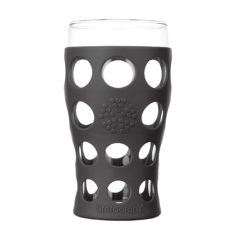 20 oz Beverage Glass 2 Pack With Silicone Sleeves, Carbon
