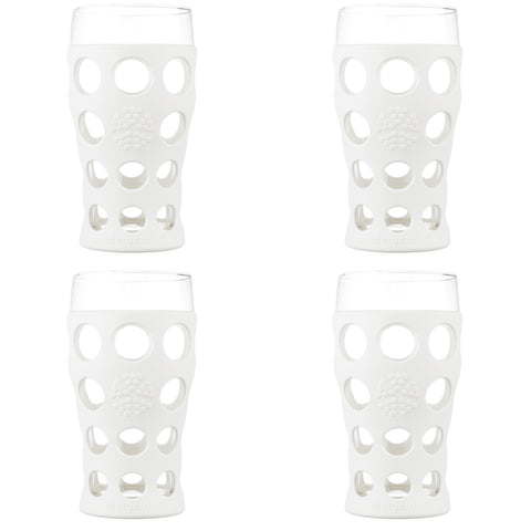 20 oz Beverage Glass 4 Pack with Silicone Sleeves, Optic White