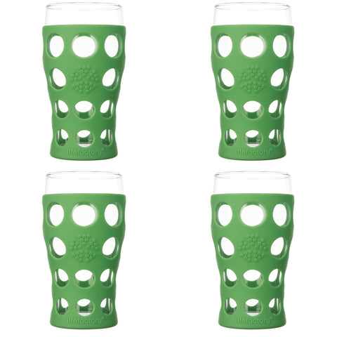 20 oz Beverage Glass 4 Pack with Silicone Sleeves, Grass Green