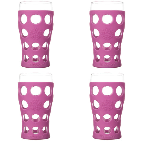 20 oz Beverage Glass 4 Pack with Silicone Sleeves, Huckleberry