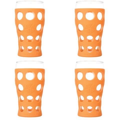 20 oz Beverage Glass 4 Pack with Silicone Sleeves, Orange