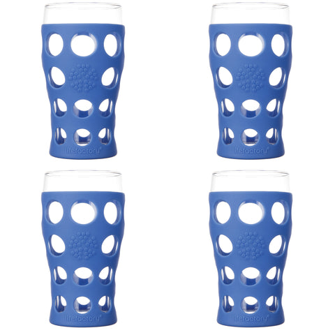 20 oz Beverage Glass 4 Pack with Silicone Sleeves, Cobalt