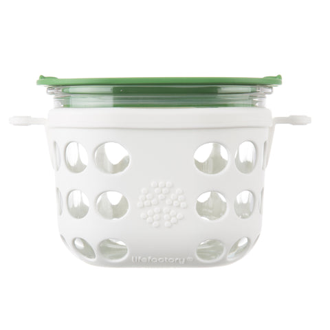 2 Cup Glass Food Storage with Silicone Sleeve, Optic White/Grass Green