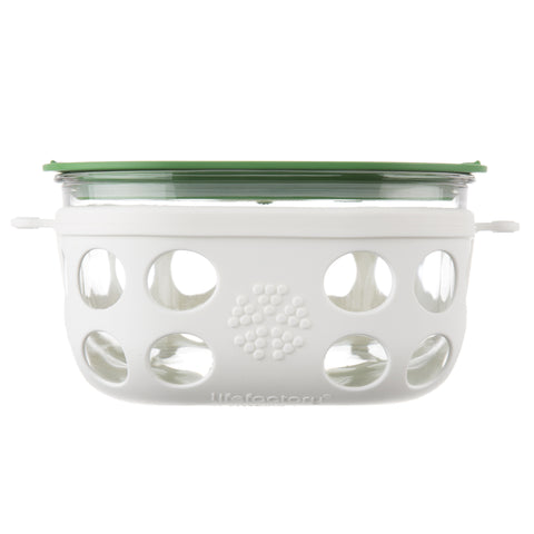 4 Cup Glass Food Storage with Silicone Sleeve Optic White/Grass Green ...  sc 1 st  Lifefactory & Food Storage u2013 Lifefactory.com