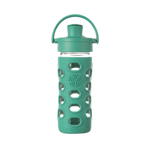 Lifefactory 12 oz Glass Water Bottle with Active Flip Cap and Silicone Sleeve - Kale