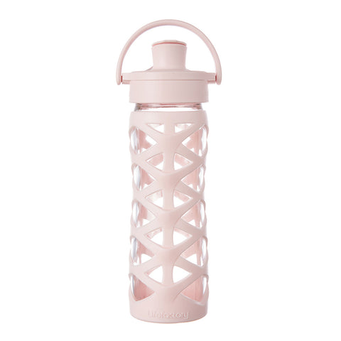 Lifefactory 16 oz Glass Water Bottle with Active Flip Cap and Silicone Sleeve - Cherry Blossom