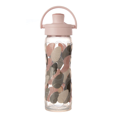 Lifefactory 16 oz Glass Water Bottle with Active Flip Cap and Silicone Sleeve - Blush