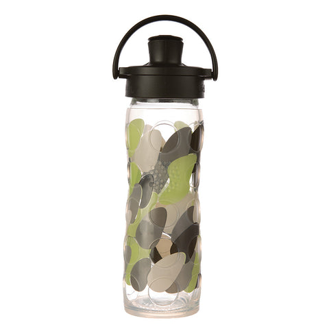 Lifefactory 16 oz Glass Water Bottle with Active Flip Cap and Silicone Sleeve - Green Envy