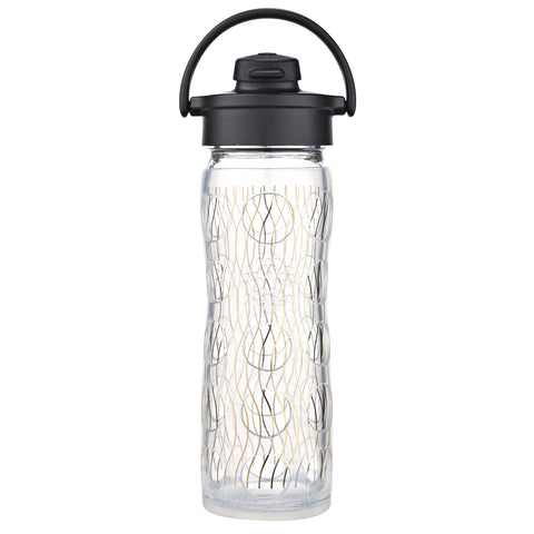 16 oz Glass Water Bottle with Active Flip Cap and Silicone Sleeve - Holiday, Gold Stripe