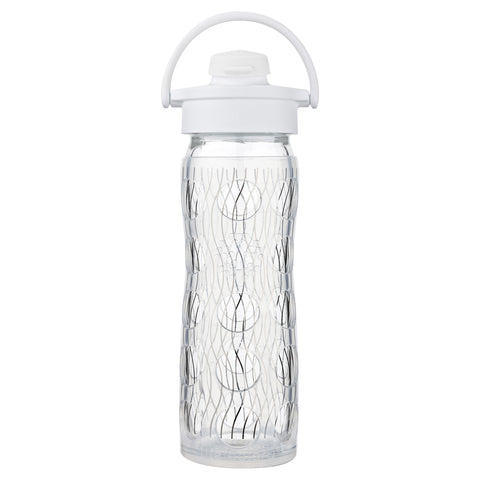 16 oz Glass Water Bottle with Active Flip Cap and Silicone Sleeve - Holiday, Silver Stripe