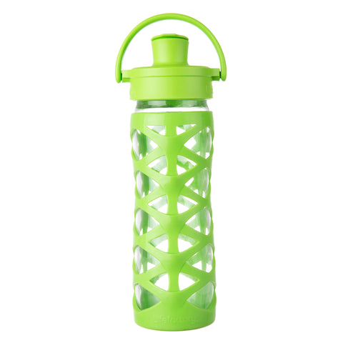 16 oz Glass Water Bottle with Active Flip Cap and Silicone Sleeve, Lime