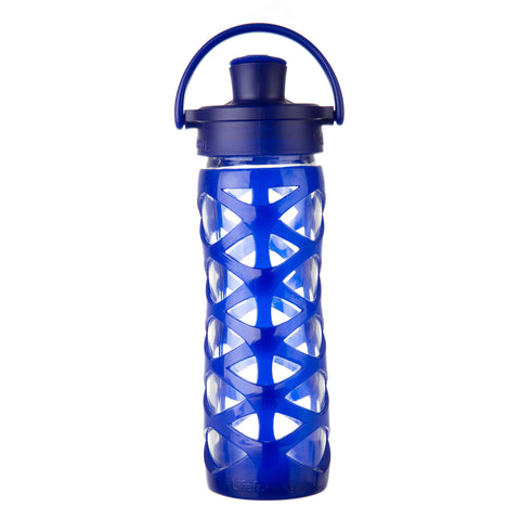 16 oz Glass Water Bottle with Active Flip Cap and Silicone Sleeve, Sapphire