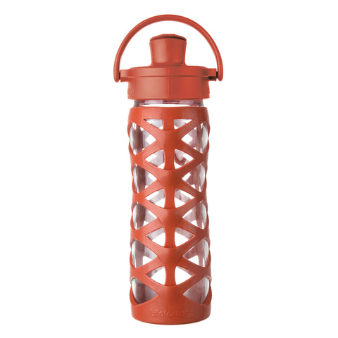 16 oz Glass Water Bottle with Active Flip Cap and Silicone Sleeve, Golden Gate Orange