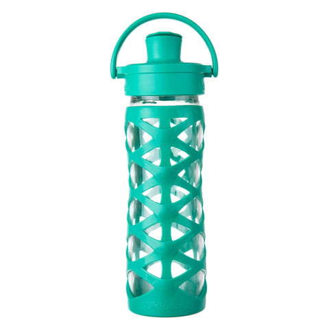 16 oz Glass Water Bottle with Active Flip Cap and Silicone Sleeve, Aquatic Green