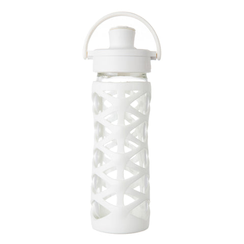16 oz Glass Water Bottle with Active Flip Cap and Silicone Sleeve, Optic White