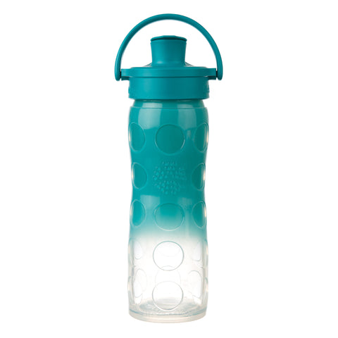 16 oz Glass Water Bottle with Active Flip Cap and Silicone Sleeve, Ultramarine Ombre