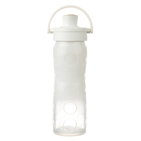 16 oz Glass Water Bottle with Active Flip Cap and Silicone Sleeve, White Ombre