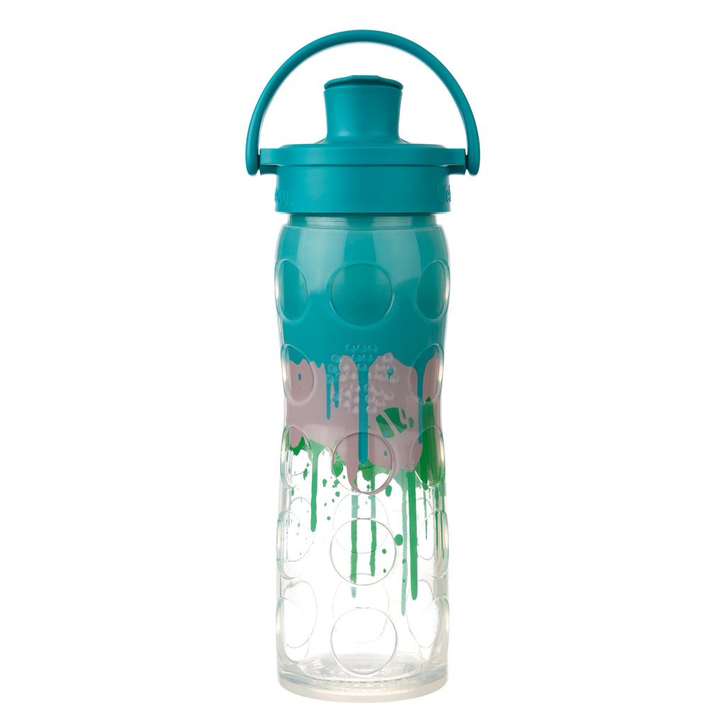 16 oz glass water bottle with active flip cap and silicone sleeve ultramarine splash
