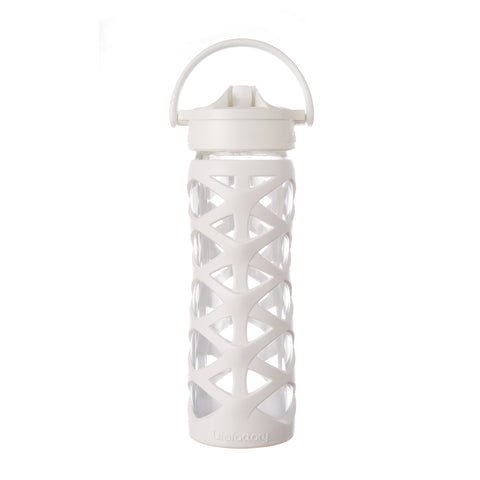 Lifefactory 16 oz Glass Water Bottle with Axis Straw Cap and Silicone Sleeve, Optic White