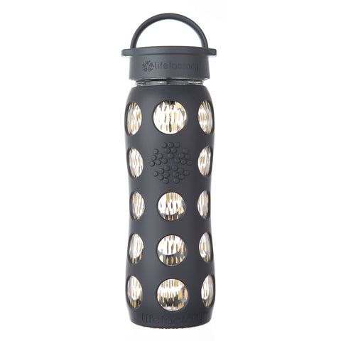 22 oz Glass Water Bottle with Classic Cap and Silicone Sleeve - 24k Fused Gold, Onyx Freestyle