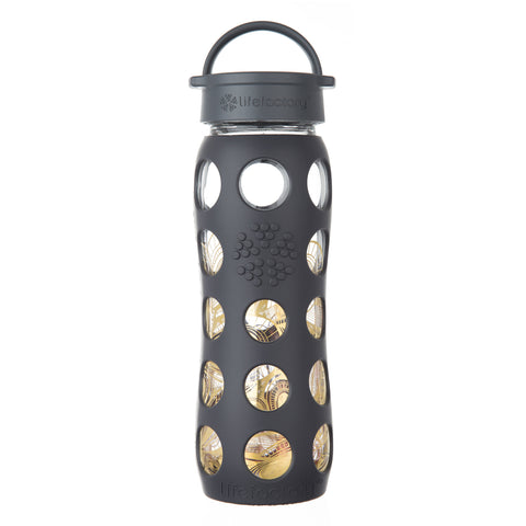 22 oz Glass Water Bottle with Classic Cap and Silicone Sleeve - 24k Fused Gold, Onyx Organic