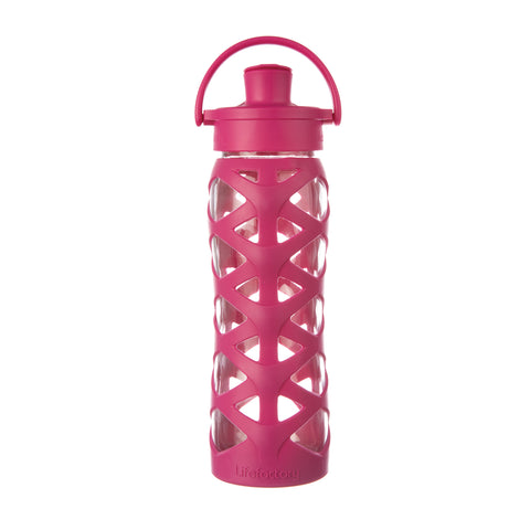 Lifefactory 22 oz Glass Water Bottle with Active Flip Cap and Silicone Sleeve - Guava