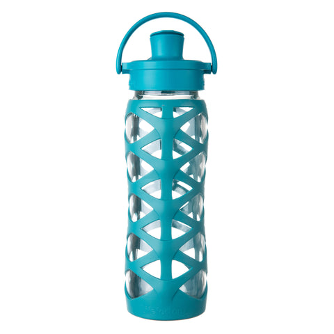 22 oz Glass Water Bottle with Active Flip Cap and Silicone Sleeve, Ultramarine